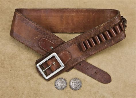 wide tooled leather combination money cartridge belt with