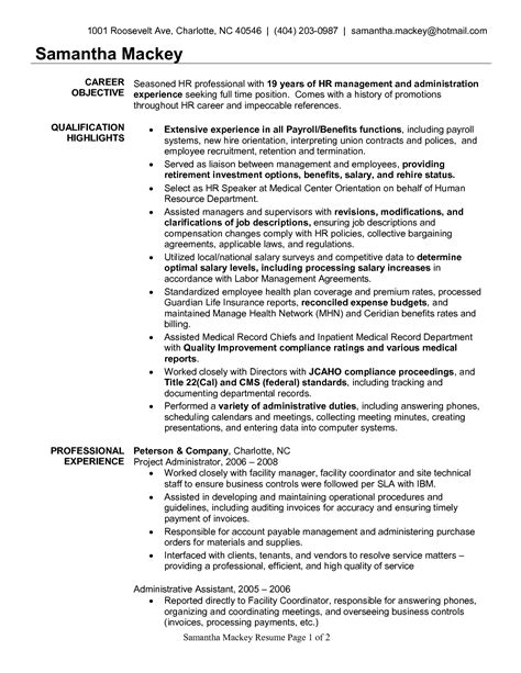 Resume Exles Benefits Administrator Hr Administration Sle Resume Haadyaooverbayresort