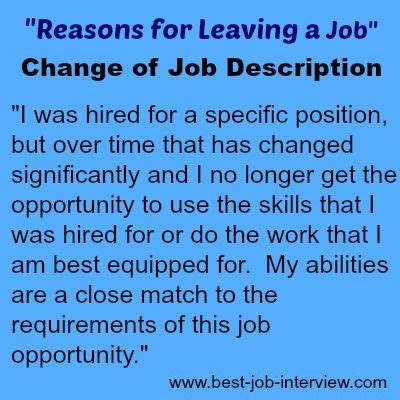 reasons leaving job application examples sample letter of