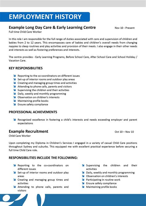 Resume For Child Care by Child Care Worker Description Resume Krida Info