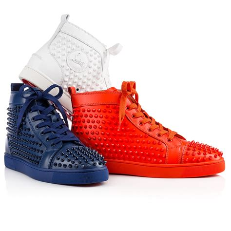 christian louboutin louis spikes s flat in blue for