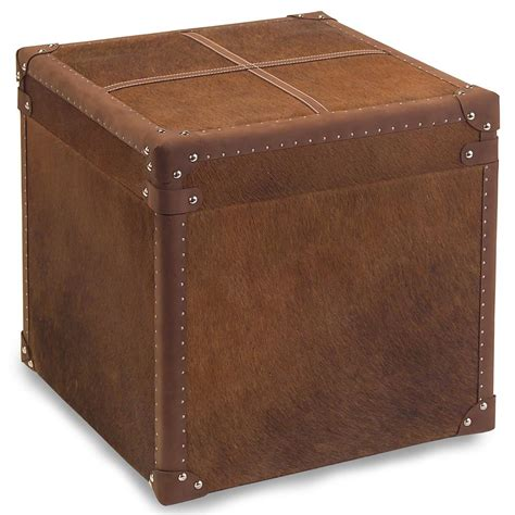 rustic leather ottoman bauer rustic lodge brown hide leather side table storage