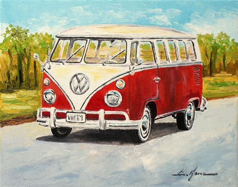 volkswagen painting vw transporter t1 samba painting by luke karcz
