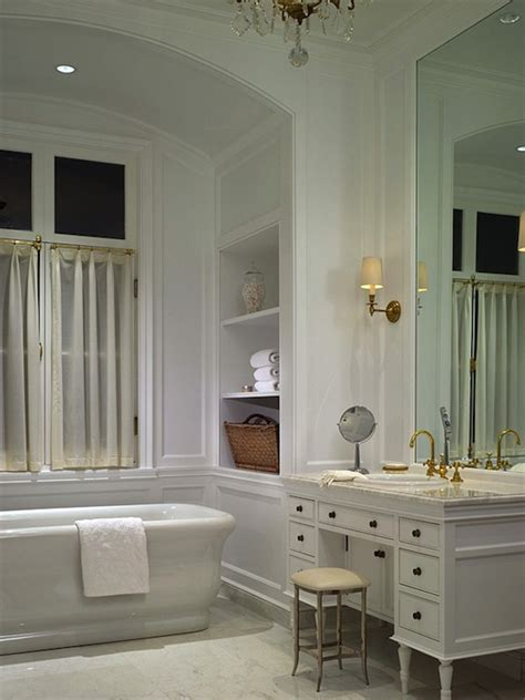 White Master Bathroom Ideas by Arched Bathtub Alcove Transitional Bathroom Blue
