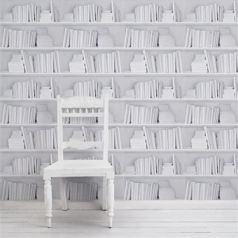 White Bookshelf Wallpaper Curiousegg White Bookcase Wallpaper