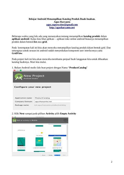 membuat aplikasi katalog android belajar android membuat katalog produk