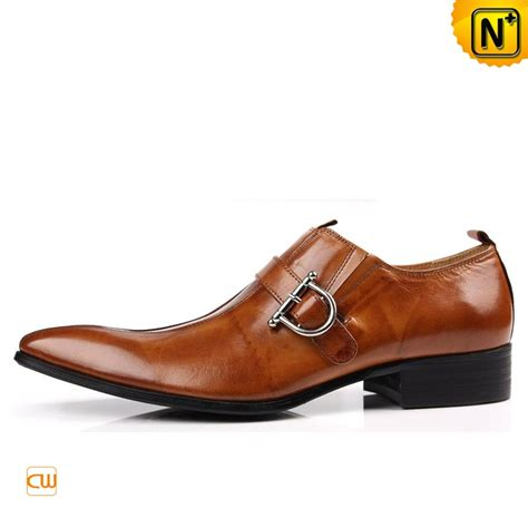 brown monk leather dress shoes for cw763072