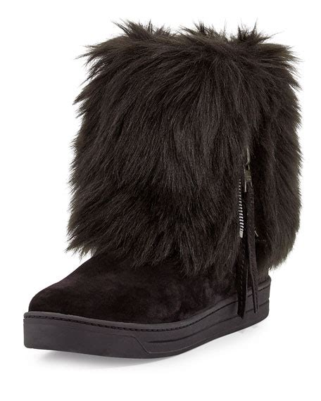 Miuccia Prada Bored With Fur by Prada Faux Fold Ankle Boot Nero