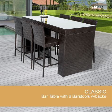 Outdoor Patio Bar Table Bar Table Set With Barstools 7 Outdoor Wicker Patio Furniture