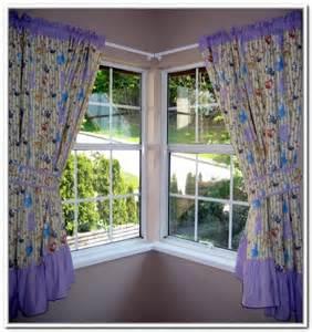 Colorful corner window curtains glass corner windows with white trims