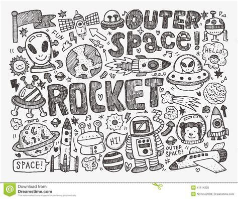 doodle element doodle space element stock vector image of cosmos