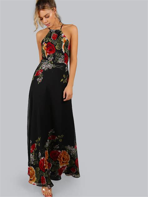Baju Dress Maxi Flower Black black flower print halter neck open back maxi dress shein