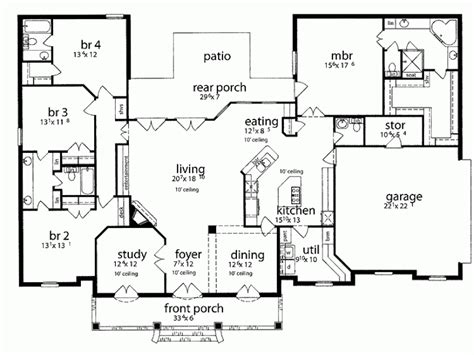 large one story house plan big kitchen with walk in 1 story house plans take off front dining room and study