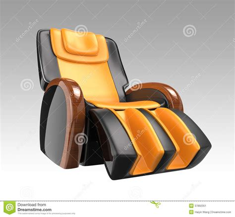 yellow leather recliner chair black and yellow leather reclining massage chair stock