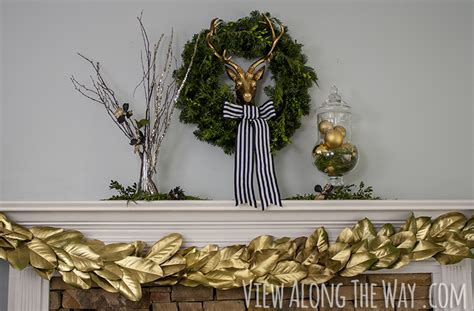 christmas garland puns glam mantel gold and greenery