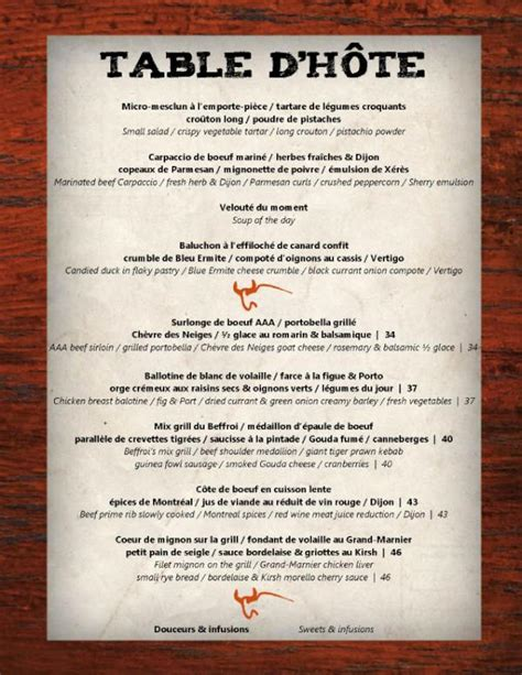 Table D Hôte beffroi steakhouse on quot nouveau menu table d h 244 te