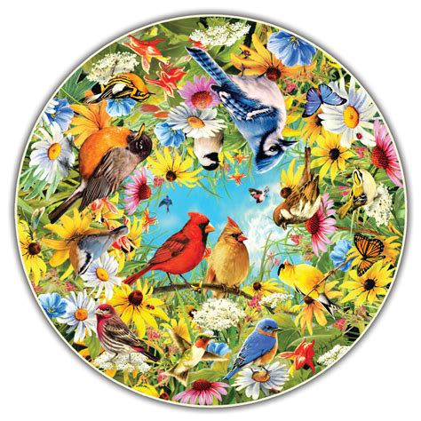 Backyard Birds Round Table Puzzle Jigsaw Puzzle Puzzlewarehouse Com Circular Jigsaw Puzzles