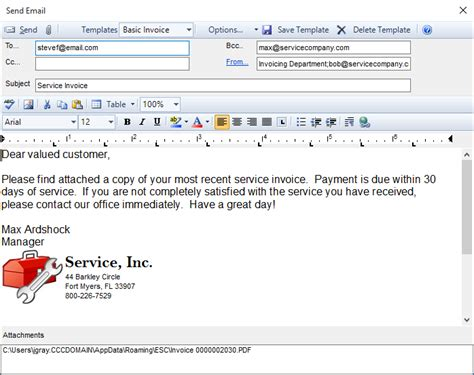 emailing invoices and quotes desco support