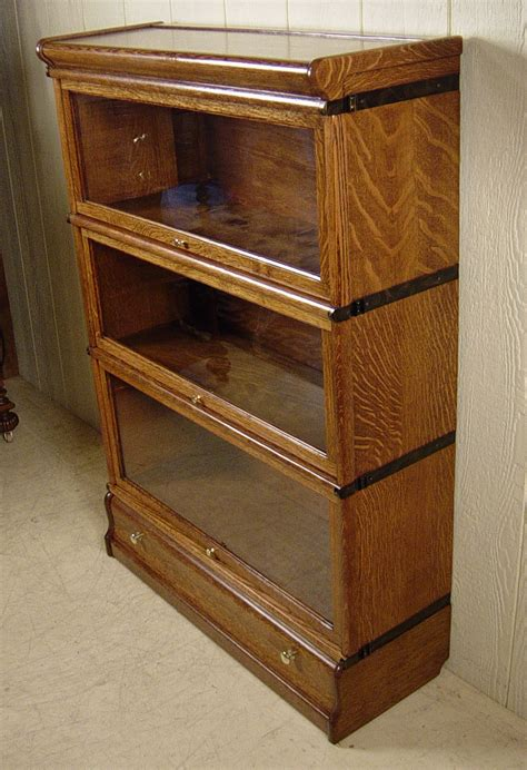 3 section oak globe wernicke stacking bookcase