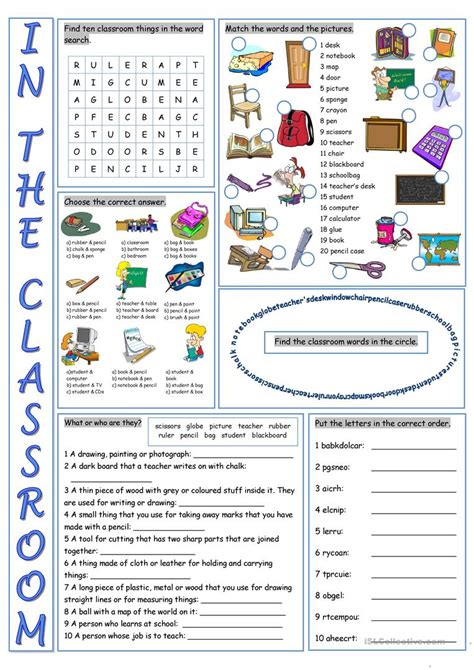 Classroom Worksheets by In The Classroom Vocabulary Exercises Worksheet Free Esl