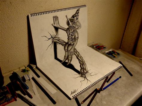 3d Sketches On Paper by 3d Drawing How To Draw 3d Residents On The