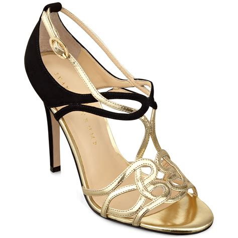 black and gold high heel shoes lyst ivanka herly high heel evening sandals in black