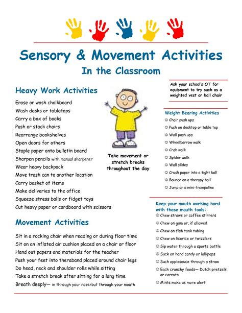 sensory diet template sensory strategies heavy work suggestions for the