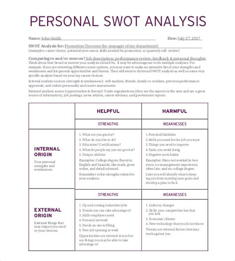 swot template pdf personal swot analysis template 15 exles in pdf