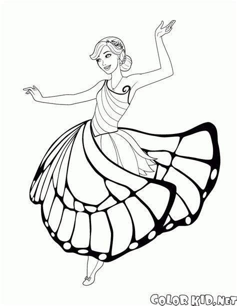 coloring page fairy butterfly and dances