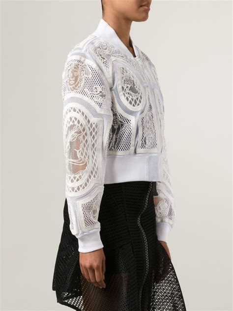 Ktz Embroidered Mesh Bomber Jacket in White   Lyst