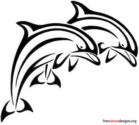 twin jumping dolphin tattoo design busbones
