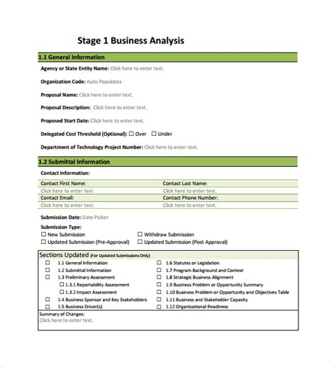 11 Business Analysis Sles Sle Templates Business Analysis Templates