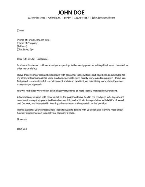 Letter To Mortgage Underwriter Template underwriter cover letter 0 mortgage nardellidesign