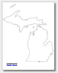 Printable Outline Of Michigan by Printable Michigan Maps State Outline County Cities