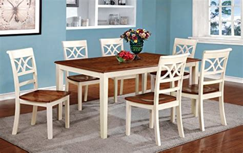 Country Style Dining Room Table Furniture Of America Cherrine 7 Country Style Dining Set Oak Vintage White Kitchen