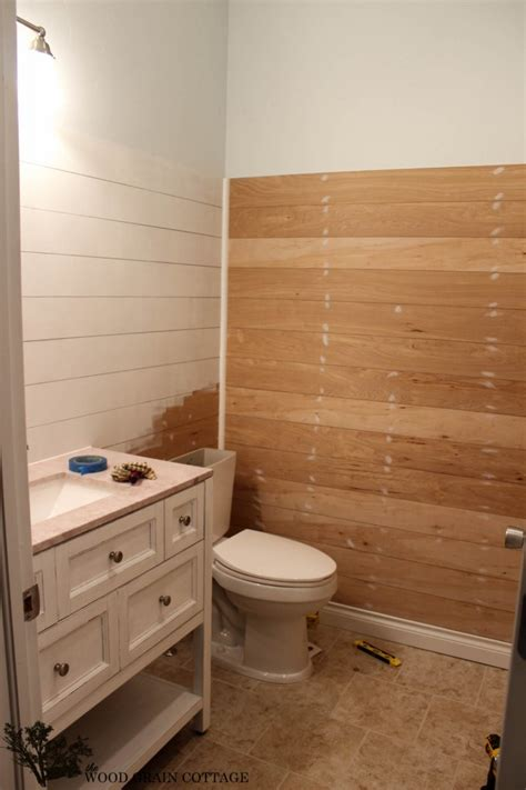 plank wall bathroom powder bathroom plank walls a sneak peak the wood