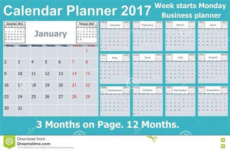 Calendario Por Semana Planificador Calendario Por 2017 A 241 Os 3 Meses En La