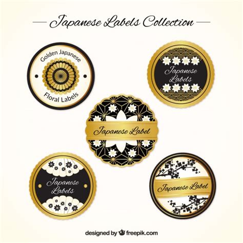 Etiketten Japan by Japanese Labels Collection Black And Gold Vector Free