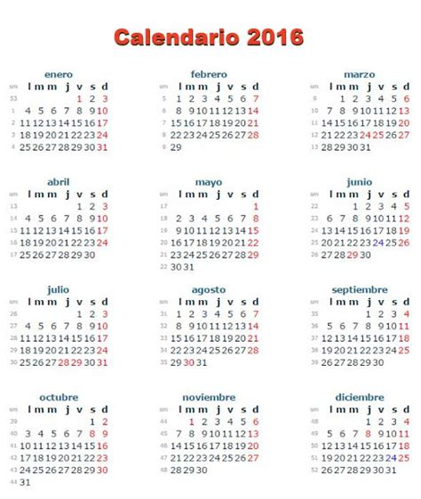 Calendario De Semanas 2016 Calendario Semanas 2016 Calendar Template 2016