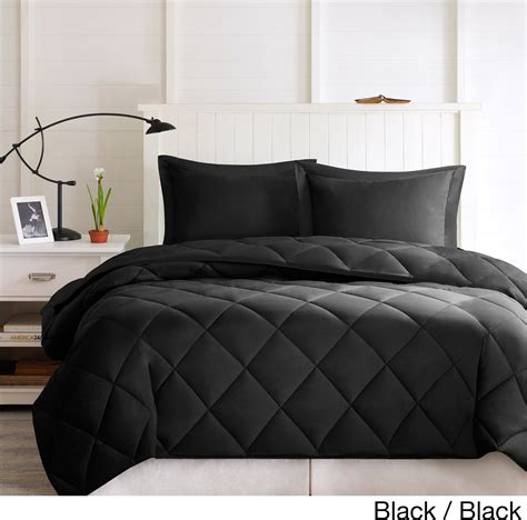 black comforter set full queen size 3 piece down