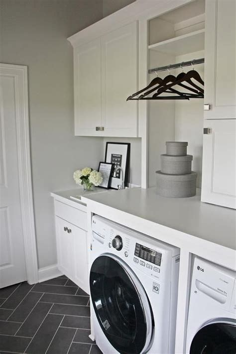 White Laundry Room With Gray Herringbone Floor Laundry Grey Laundry
