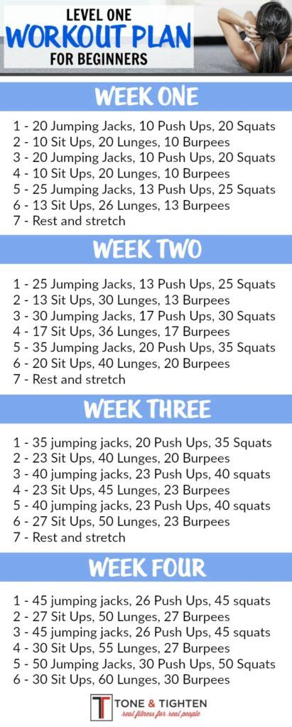 beginners exercise plan at home 4 week beginner s workout plan level one month workout