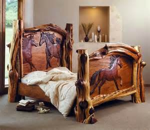 horse bedroom sets nyc mattress creative rustic bed with horses on headboard