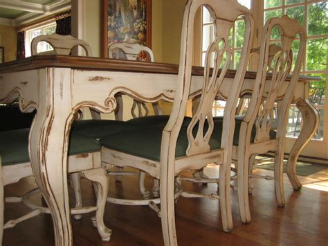 antiqued and distressed kitchen table and chairs