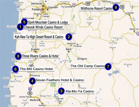 indian casinos in map oregon gaming directory