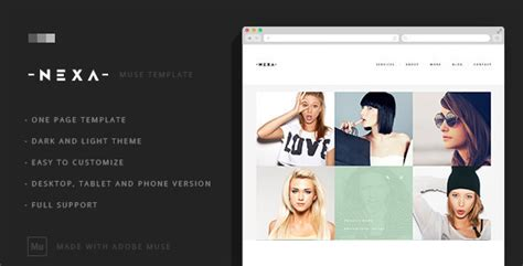 muse themes facebook preview nexa creative one page muse template by wellmadepixel