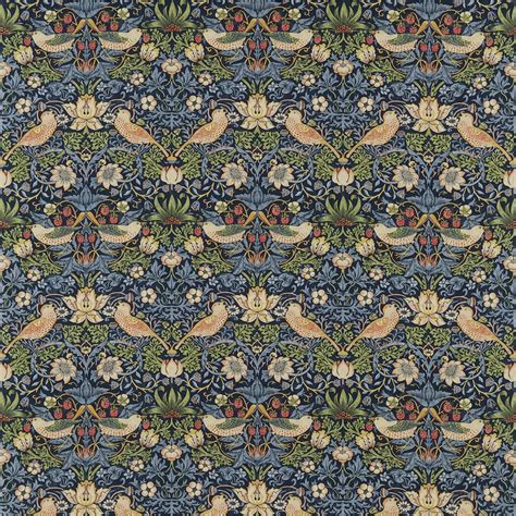Cotton Upholstery Morris Amp Co Strawberry Thief Fabric Indigo Amp Mineral
