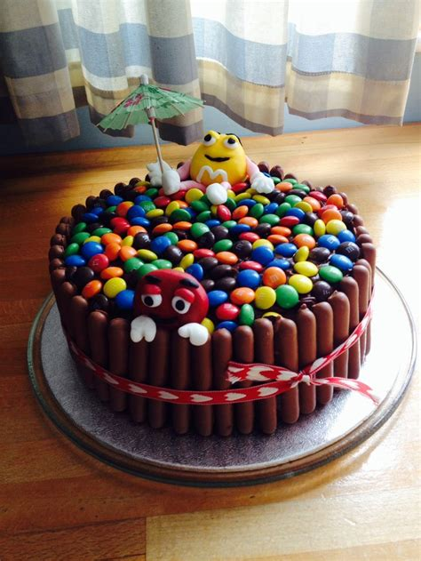 M&M chocolate birthday cake for my 11 year old!! First