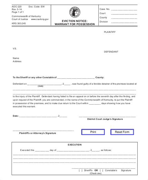 printable eviction notice ky eviction notice 9 free word pdf documents download