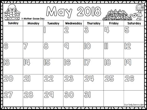 monthly calendars kids lizs early